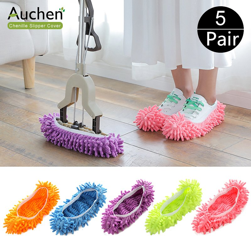 Shoe Covers, AUCHEN 5 Pairs/10 Pcs Washable Dust Mop Slippers Shoes Cover, Reusable Microfiber Cleaning Mop Slippers Floor Dust Hair Cleaners Multi-Function Cleaning Shows Cover for Bathroom Kitchen