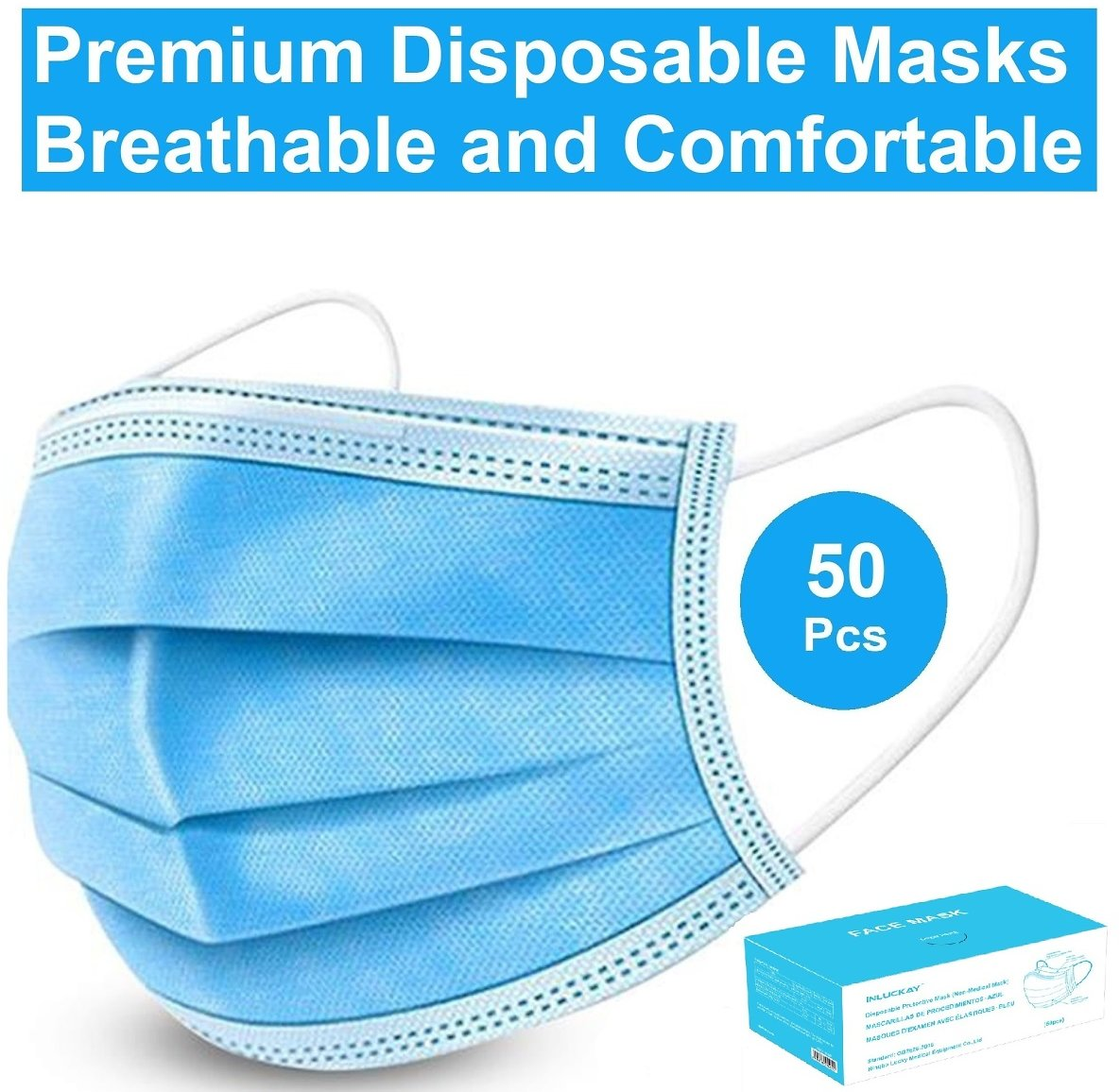 Disposable Face Mask - 10 Pack - Disposable Face Masks, 3-ply Elastic Ear Loop Filter Mask