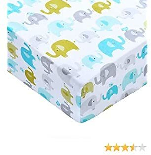 Fitted Crib Sheet, 100% Organic Cotton Crib Sheet, Ultra Soft Breathable Baby Sheet, Portable Infant Sheet for Standard Crib/Toddler Bed, Nursery Playard Sheet for Baby Boy Girl, Colorful Elephant