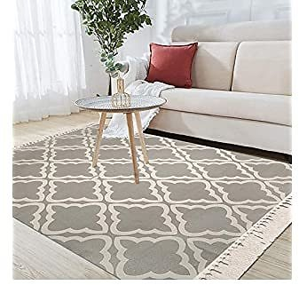 Pauwer Large Cotton Area Rug 4' X 6' Washable Hand Woven Cotton Area Rug with Fringe Tassel Accent Rug Non Slip Indoor Cotton Throw Rugs Floor Carpet
