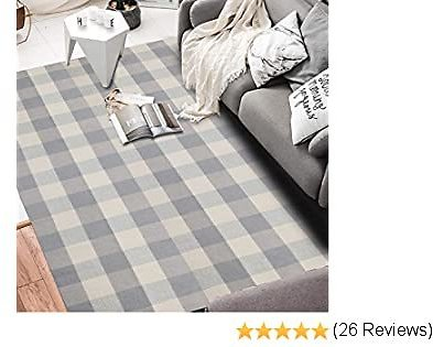 Seavish Cotton Buffalo Checkered Rug,Grey and White Plaid Rug Handmade Woven Area Rug 4'x 6',Machine Washable Carpet Welcome Mat for Outdoor/Porch/Kitchen/Entry Way/Laundry