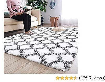 Noahas 5' X 8' Soft Area Rugs for Bedroom Living Room Shaggy Patterned Fluffy Carpets for Nursery Baby Rooms Silky Smooth Fuzzy Kids Play Mats Christmas Thanksgiving Holiday Decor Rug, White