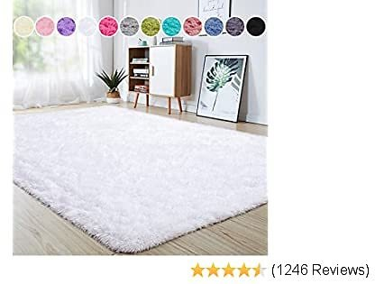 Junovo Ultra Soft Area Rugs 4 X 5.3ft Fluffy Carpets for Bedroom Kids Girls Boys Baby Living Room Shaggy Floor Nursery Rug Home Decor Mats, White