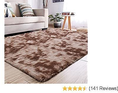 YJ.GWL Soft Indoor Large Modern Area Rugs Shaggy Fluffy Carpets Suitable for Living Room and Bedroom Nursery Rugs Abstract Accent Home Decor Rugs for Girls and Kids 4x6 Feet Coffee