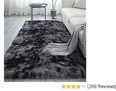 Soft Nursery Rug for Princess Prince Castle Play Modern Abstract Area Rugs Anti-Skid Fluffy Rectangular Rug Plush Velvet Home Decorative Carpet for Dorm Baby Room Fuzzy Throw Rug Grey 4 X 6.6ft