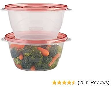 Rubbermaid TakeAlongs Serving Bowl Food Storage Containers, 6.2 Cup, Tint Chili, 3 Count 1953861,Chili Red