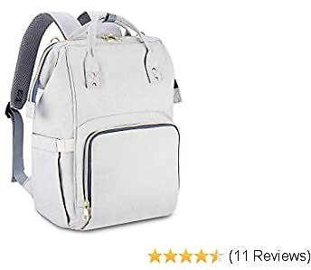 Ceephouge Diaper Bag Backpack Waterproof Travel Backpack Multi-Function Nappy Bag with Stroller Straps for Mom (Gray)