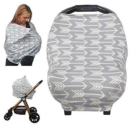 Nursing Cover Breastfeeding Scarf - All-in-1 Multi Use Baby Car Seat Canopy Covers, Stroller Cover, Carseat Canopy for Girls and Boys- Perfect Gift for Pregnant Moms