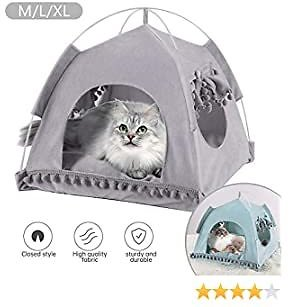 Cat Tent Cave Bed,Cat House Bed,Pet Tent Portable Playpens 2-in-1 Self Warming Comfortable Triangle Cat Bed Folding Pet Tent Small Animal House Cage