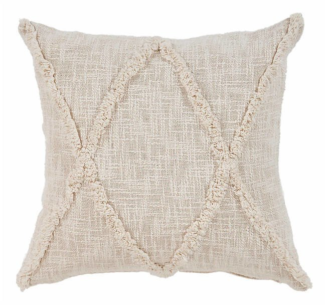 Natural Fringe Diamond Pillow | Kirklands
