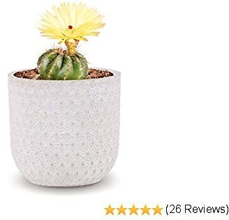 INSPIRELLA Modern Flower Pot Indoor Planter - 5.3 Inch, Glazed Cement, Small Plant Pots for Indoor and Outdoor Growing Plants, Diamond Mosaic Design