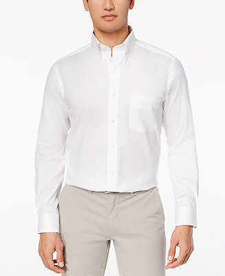 83% Off Club Room Men's Performance Wrinkle-Resistant Pinpoint Solid Dress Shirt, Created for Macy's & Reviews