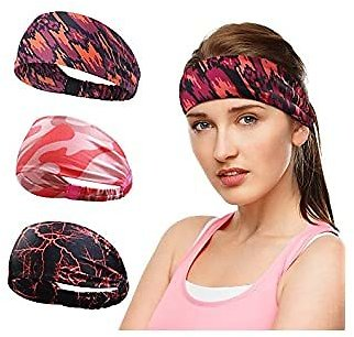 DCBRAA Sweat Bands Headbands Non Slip Breatheable Durable Head Band Outdoor Workout Yoga Gym Running Jogging Exercise, Suitable for Both Men and Women,3pcs