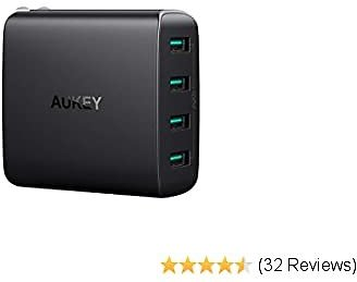 AUKEY USB Charger 4 Ports with Foldable Plug, USB Wall Charger Compatible with IPhone 11 Pro Max / 11, Samsung Galaxy Note8 / S8, IPad Pro/Air 2 / Mini 4 and More
