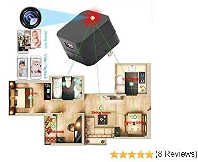 USB Spy-Camera WiFi Hidden Camera Charger - 1080P Wireless Nanny Cam Plug Mini Adapter Cams for Home Security Live Streaming On Android IPhone App