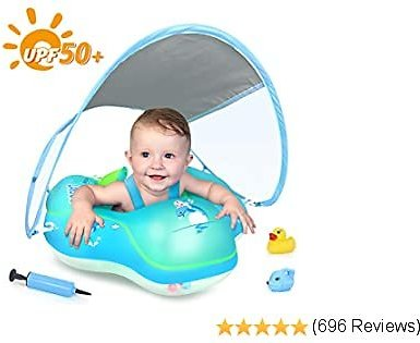 LAYCOL Baby Swimming Float Inflatable Baby Pool Float Ring Newest with Sun Protection Canopy,add Tail No Flip Over for Age of 3-36 Months (Blue, S)