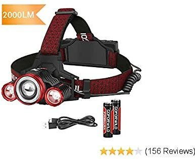 50% OFF Headlamp, Brightest LED Work Headlight,18650 USB Rechargeable Waterproof Flashlight, for Camping,Hiking, Outdoors