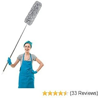Microfiber Duster with Extension Pole, Extra Long 100 Inches, with Bendable Head, for Cleaning Ceiling Fan, High Ceiling