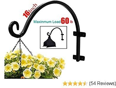 45% OFF Plant Hooks Hanging Baskets (16inches-Screws Included) Black Durable Iron Curved Hooks
