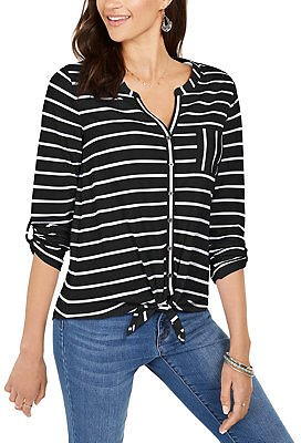 Style & Co Printed Tie-Front Top, Created for Macy's & Reviews - Tops - Women