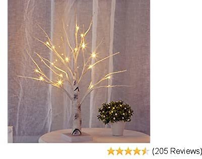 Bolylight LED Birch Money Tree Gift Holder Jewelry Holder Night Light Table Tree Lamp Centerpiece Great Decor for Home/Christmas/Party/Festival/Wedding, 1.5ft