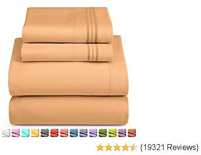Nestl Deep Pocket Twin XL Sheets: Twin XL Size Bed Sheets with Fitted and Flat Sheet, Pillow Cases - Extra Soft Microfiber Bedsheet Set with Deep Pockets for Twin XL Sized Mattress - Mocha Light Brown