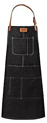 Save 50%! Denim Apron with 5 Tool Pockets for Cooking, BBQ, Barbecue, Grilling, Kitchen, Baking, Bib, Barber, Adjustable Neck Wo