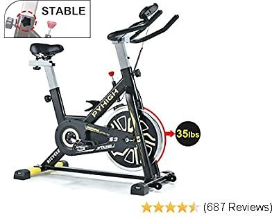 Indoor Cycling Bike Belt Drive Stationary Bicycle Exercise Bikes with LCD Monitor for Home Cardio Workout Bike Training- Black.