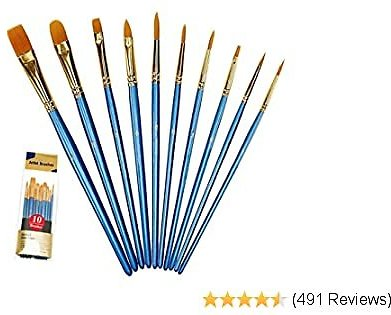 Xubox Paint Brushes Set, 10 Pieces Round Pointed Tip Nylon Hair Artist Acrylic Paintbrushes, Paint Brushes for Acrylic Painting Oil Watercolor Face Nail Body Art Craft, Miniature & Rock Painting, Blue