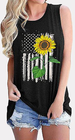 Women Sleeveless Flag Sunflower Print Independence Day Loose Tank Tops Tops from Women's Clothing on Banggood.com