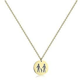 Fremttly Personalized Family Gift Choker Necklace for Women Men 14K Gold Plated Disc Pendent Necklace 316L Stainless Steel Coin Family Member Pattern Jewelry Gift for Father's Day Friendship