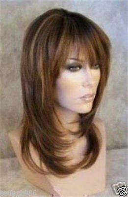 HESW21 Long Brown Mix Blonde Natural Hair Fashion Wigs for Modern Women Wig