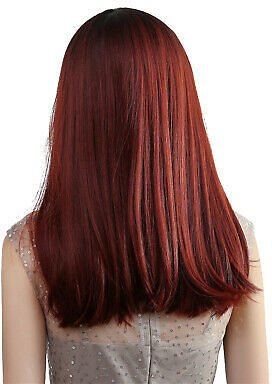 Charming Women's Synthetic Middle Part Wine Red Hair Wigs for Festivals Concert