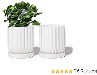 POTEY 050102 Ceramic Plant Pot - 4.9 Inch Modern Lines Cylinder Planters with Drainage Hole & Attached Saucer for Indoor Plants Flower Succulent (2, Shiny White)