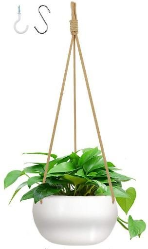 GROWNEER 7 Inches Ceramic Hanging Planter with 2 Hooks, White Porcelain Wall Hanging Plant Holder Flower Pot with 3 Jute Ropes F