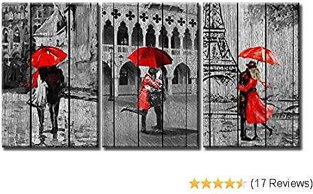 Lovers Kiss Paintings for Bedroom 3 Pieces Canvas Wall Art Decor Paris Eiffel Tower Red Umbrella Romance Rainy City Street View Photo Pictures Print Wood Framed Artwork