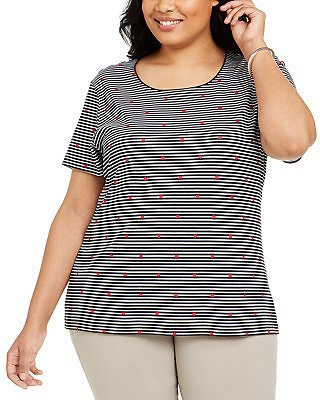 60% Off Karen Scott Plus Size Striped Heart-Print Top, Created for Macy's & Reviews - Tops - Plus Sizes