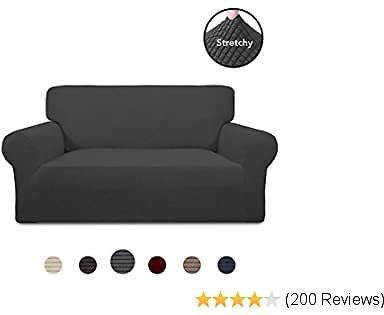 PureFit Stretch Loveseat Sofa Slipcover – Spandex Jacquard Non Slip Soft Couch Sofa Cover, Washable Furniture Protector with Non Skid Foam and Elastic Bottom for Kids (Loveseat, Dark Gray)