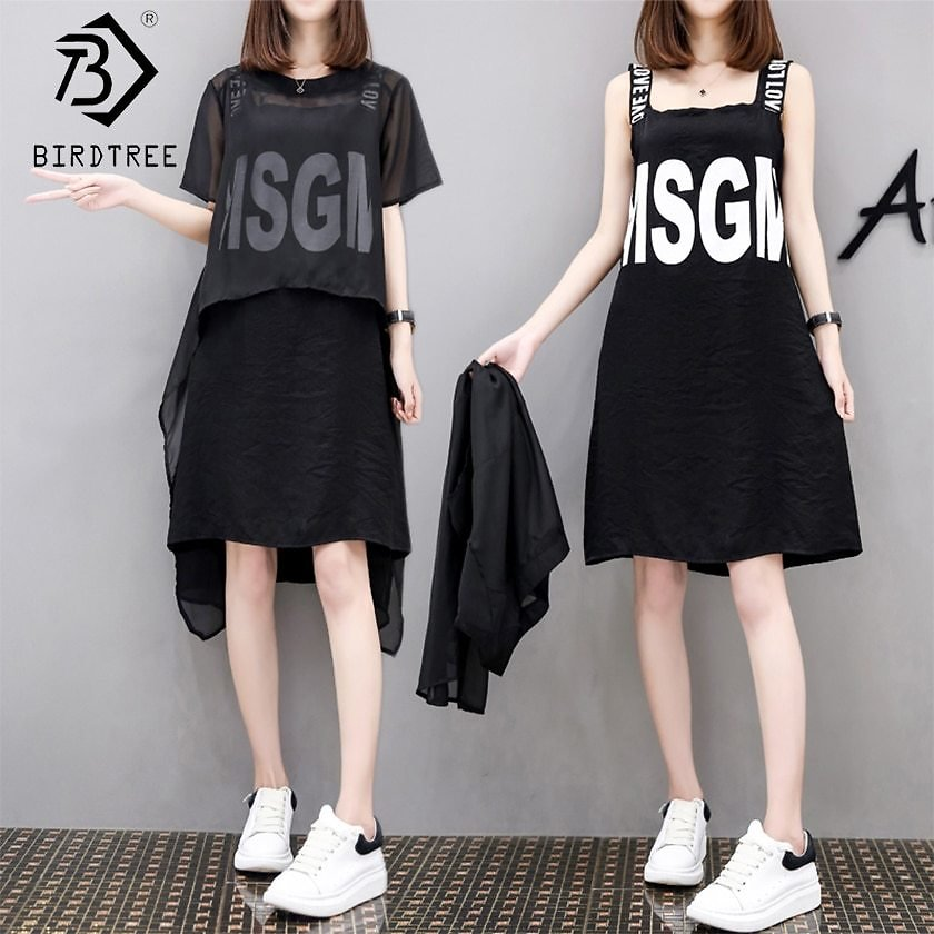 US $12.82 20% OFF|New Arrival Women's Fashion 2 Piece Sets Elegance O Neck Short Sleeve Chiffon Tops Letter Sleeveless Above Knee Dress S8N701Q|Women's Sets| - AliExpress