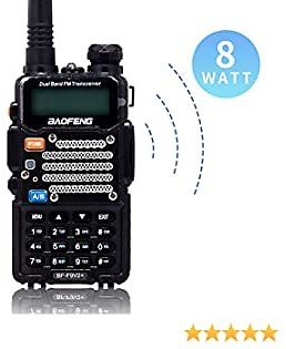 BaoFeng Two Way Radio,8-Watt Dual Band Radio with LED Display,Portable Walkie Talkies Includes 2100mAh Large Battery ,BF-F9V2+(Black, 1Pack)