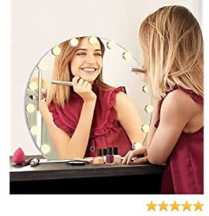 CITYMODA Lighted Vanity Mirror, Hollywood Makeup Vanity Mirror with Lights 3 Magnification, Cosmetic Beauty Mirror with 3 Color Model Dimmable Bulbs for Dressing Table