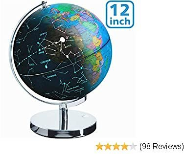 Illuminated Spinning World Globe for Kids, KingSo 12