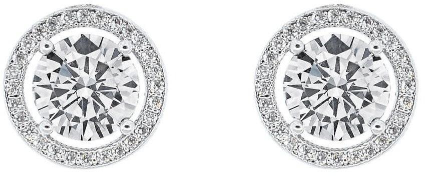Cate & Chloe Ariel 18k White Gold Halo CZ Stud Earrings