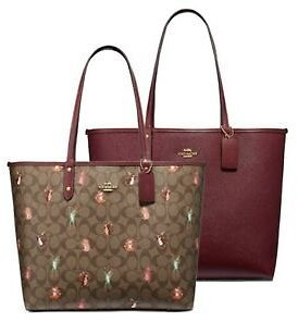 NWT COACH Reversible City Tote Canvas Party Mouse Print Khaki Burgundy F80246