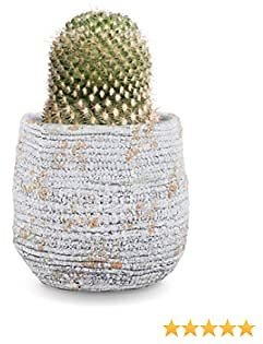 INSPIRELLA Modern Flower Pot Indoor Planter - 6.5 Inch, Glazed Cement, Decorative Plant Pots for Indoor and Outdoor Growing Plants, Rope Coil Design