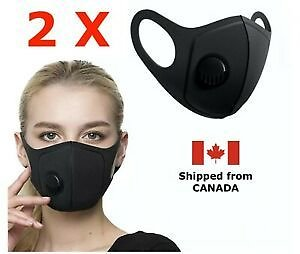 [2-Pack] - Reusable Washable Face Mask with Breathing Valve