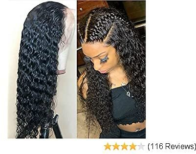 Lace Front Wigs Human Hair Wigs with Baby Hair Pre-plucked Hairline Deep Wave Glueless Lace Wigs for Black Women Natural Color 130% Density 10 Inch