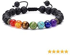 GelConnie Lava Rock Chakra Bracelet 7 Chakra 8mm Natural Stone Healing Bracelet Stress Relief Yoga Beads Anxiety Bracelet Aromatherapy Essential Oil Diffuser Bracelet Bangle