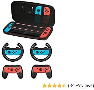 Accessories Kit for Nintendo Switch Games Starter, 2X Steering Wheel, 2X Grip Kit, 1x Travel Carry Case(5 in 1 Black)