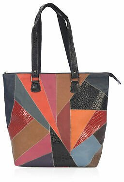Multi Color Leather RFID Patch Fashion Tote Bag Shoulder for Women Ladies